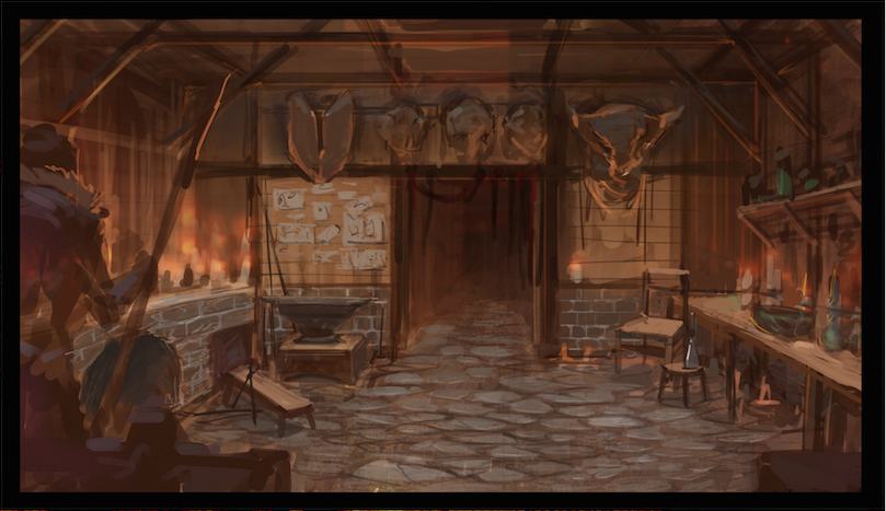 A scene of a cottage interior from Shiftlin'gs brightwood.