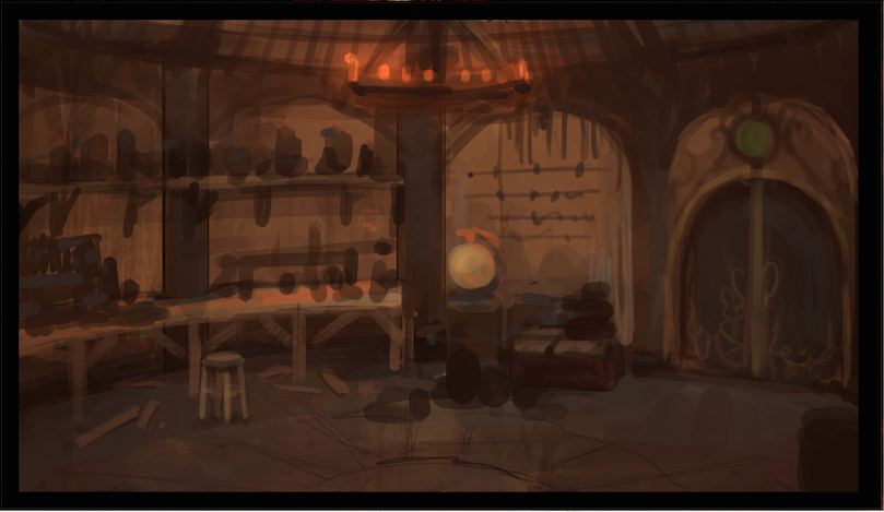 The inside of a rustic cottage set in Shiftling